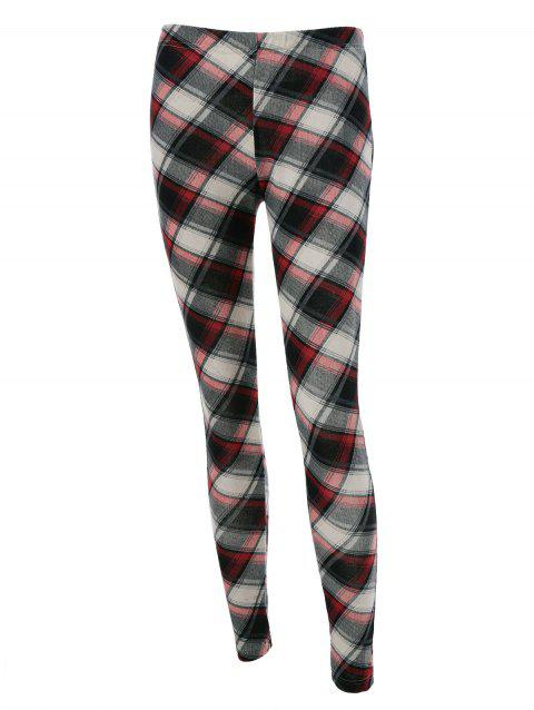 Plaid Fitted Leggings - CHECKED L
