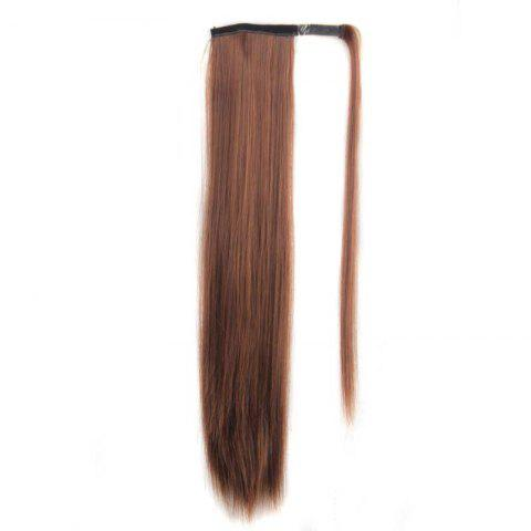 Stylish Long Straight Charming Golden Brown Heat Resistant Synthetic Women's Ponytail - GOLD BROWN