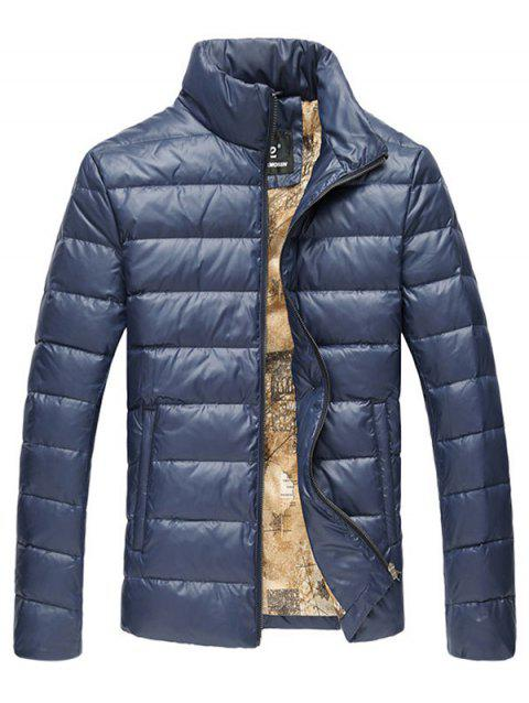 Slim Fit Funnel Neck Zipper Up Quilted Jacket - CADETBLUE 3XL