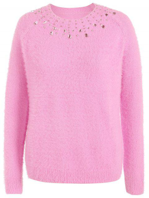 Beading Raglan Sleeve Sweater - LIGHT PINK 2XL
