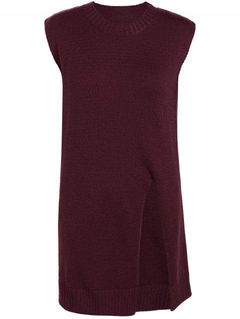 Slit Long Loose Sleeveless Sweater - WINE RED 2XL