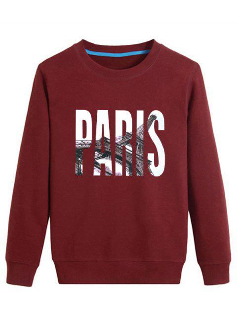 3D Paris Print Long Sleeve Sweatshirt - WINE RED M