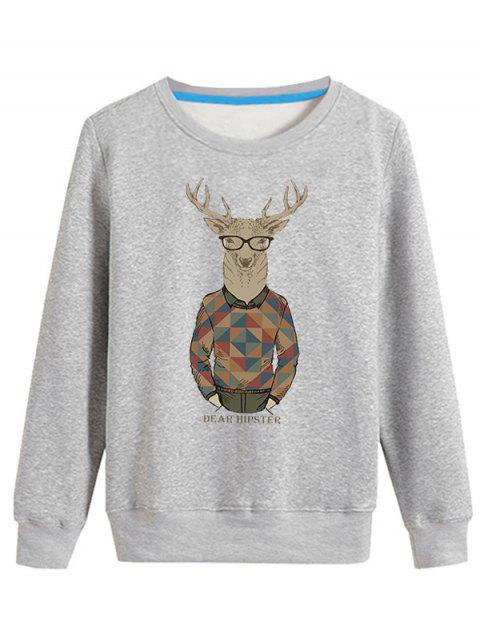Pull-over ras du cou à manches longues imprimé Elk cartoon - Gris S