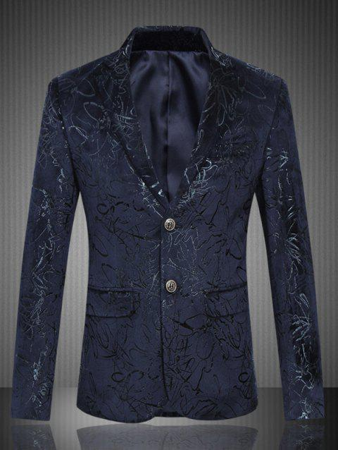 Single Breasted Lapel Collar Jacquard Blazer - PURPLISH BLUE M