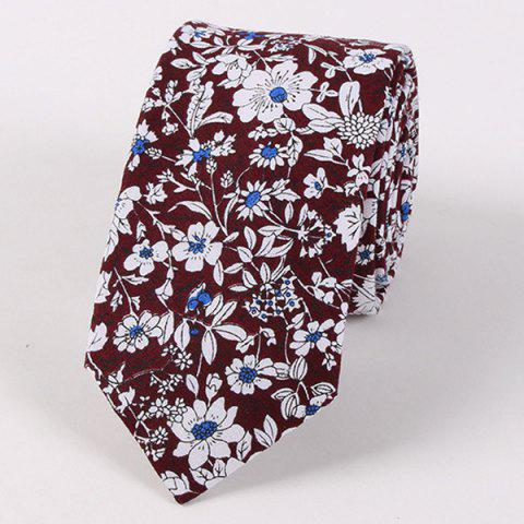 Casual Floral Shivering Printed Neck Tie - DARK RED