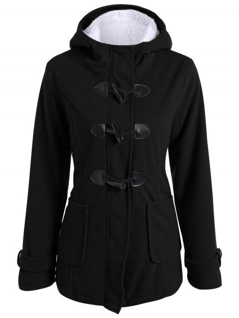 Zip Up Coat Toison Duffle Hooded - Noir S
