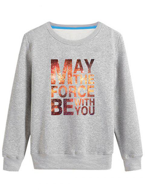 Graphic Long Sleeves Sweatshirt - GRAY L