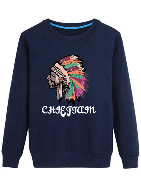 Crew Neck Indian Graphic Sweatshirt - CADETBLUE 4XL
