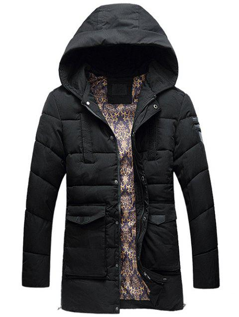 Flap Pocket PU Patch Hooded Padded Coat - BLACK L