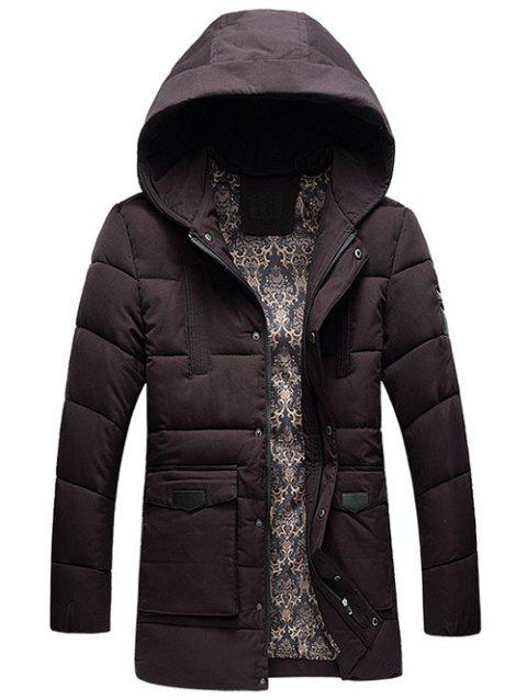 Flap Pocket PU Patch Hooded Padded Coat - PURPLISH RED 2XL