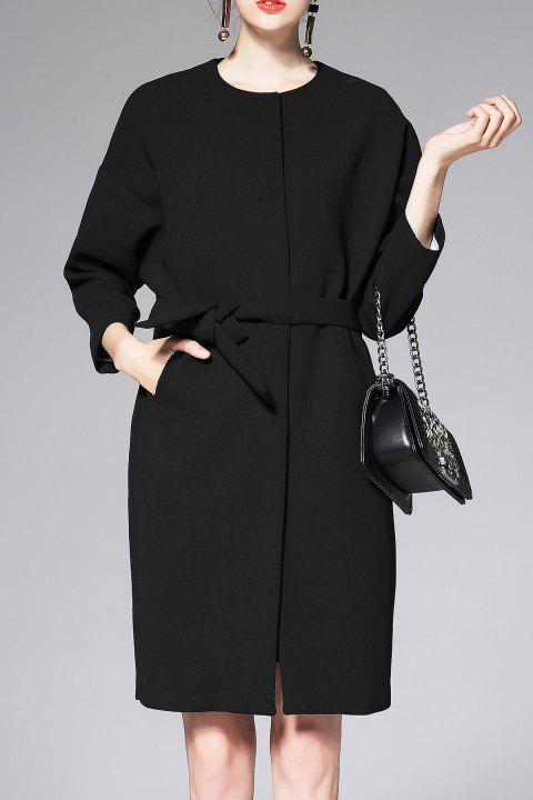 Belted Wool Blend Drop Shoulder Coat - BLACK M