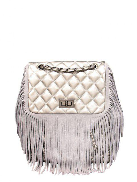 PU Leather Fringe Quilted Backpack - SILVER GRAY