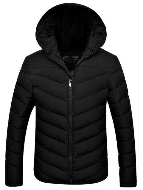 Slim Fit Zipper Up Hooded Quilted Jacket - BLACK 2XL
