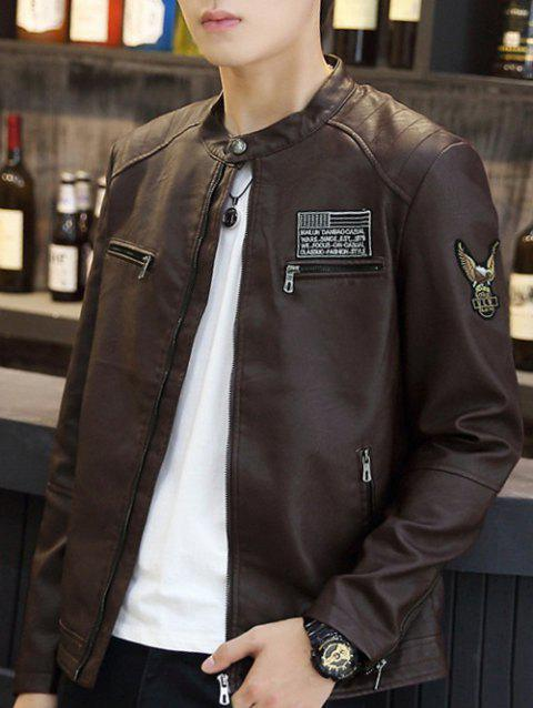 Patch Design Stand Coller PU Leather Jacket - BROWN M
