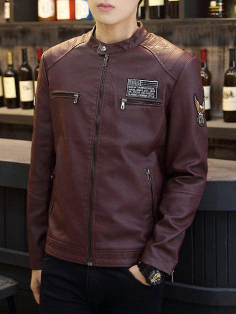 Patch Design Stand Coller PU Leather Jacket - BURGUNDY 3XL