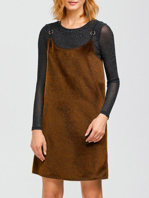 Spaghetti Strap Faux Fur Dress - Brun Doré ONE SIZE