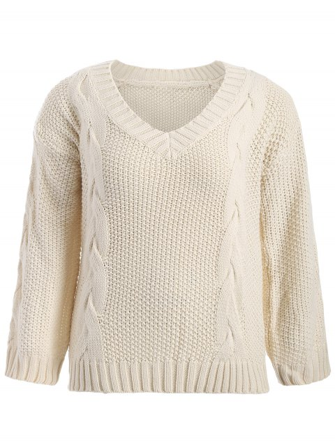 Plus Size Cable Knit Drop Shoulder Sweater - OFF WHITE 5XL