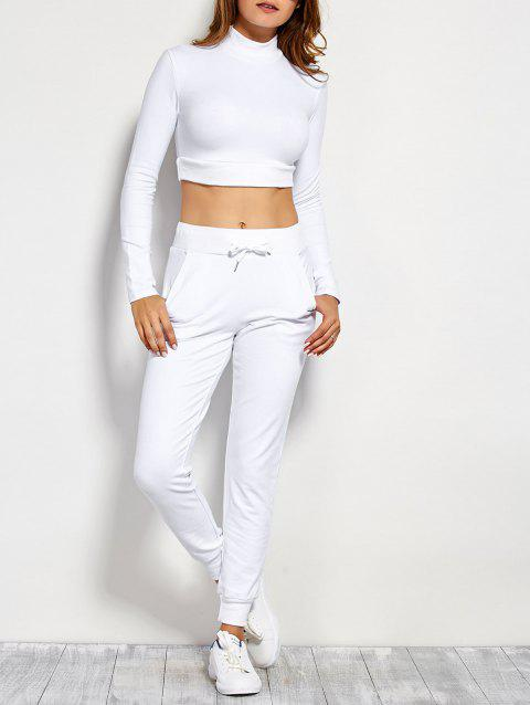 Long Sleeve Crop Top and Drawstring Pants - WHITE M