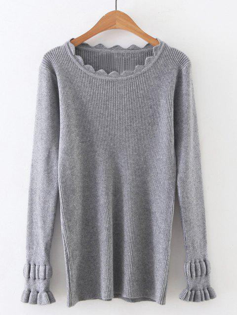 f7670d2a11c 17% OFF  2019 Long Sleeve Solid Color Tight Ribbed Sweater In GRAY ...