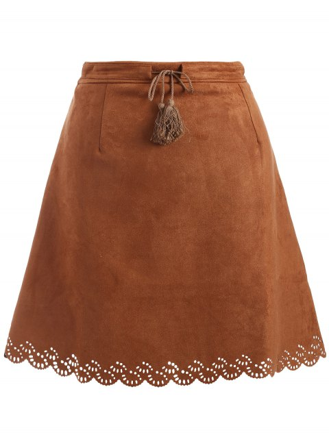 Plus Size Tie Front Suede Scalloped Skirt - BROWN 2XL