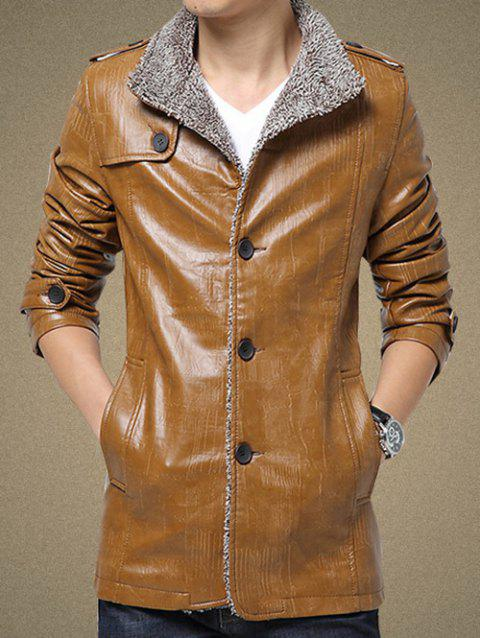 Single Bresated Faux Leather Flocking Jacket - KHAKI 3XL