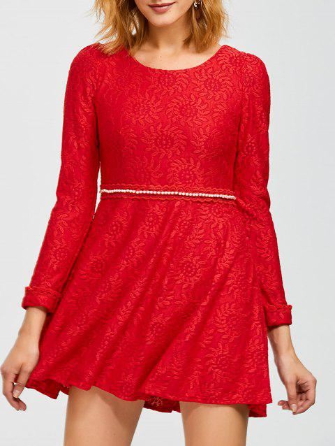 Mini Lace Flare Dress - RED M
