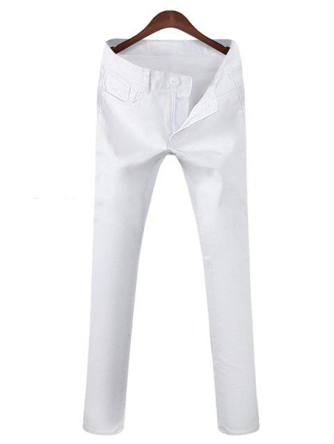 Zipper Fly Mid Rise Pocket Casual Pants - WHITE 30