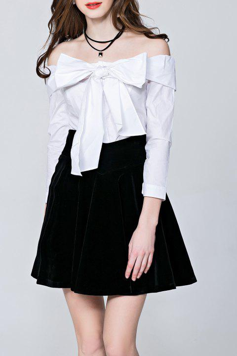 Bowknot Off The Shoulder Blouse - Blanc M