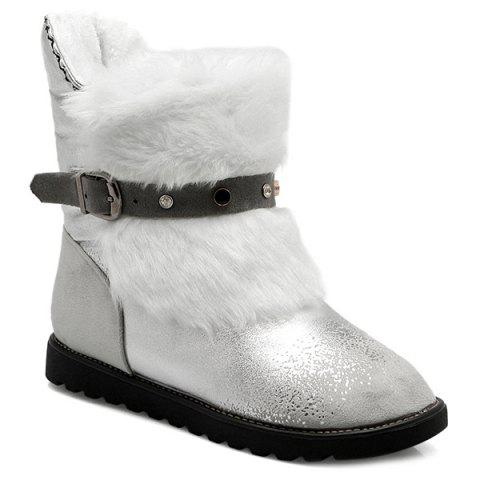 Fuzzy Buckle Strap Suede Panel Snow Boots - GRAY 40
