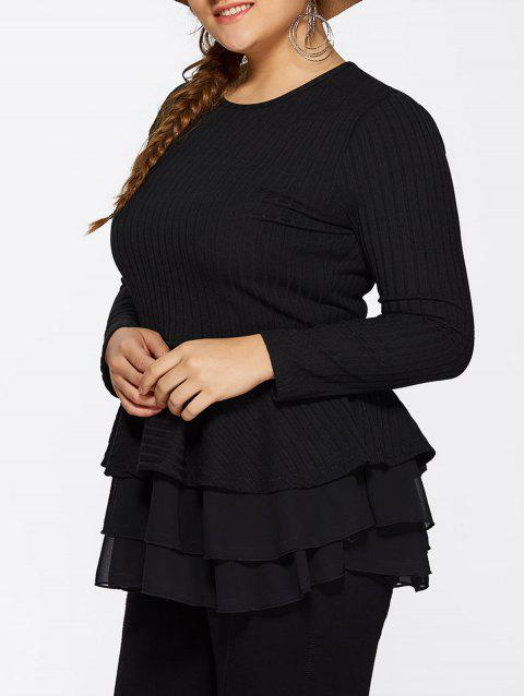 Skinny Skirted Pullover Sweater - BLACK 4XL