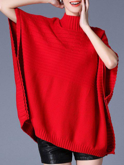 pull Cape  Bouton latéral col haut - Rouge ONE SIZE