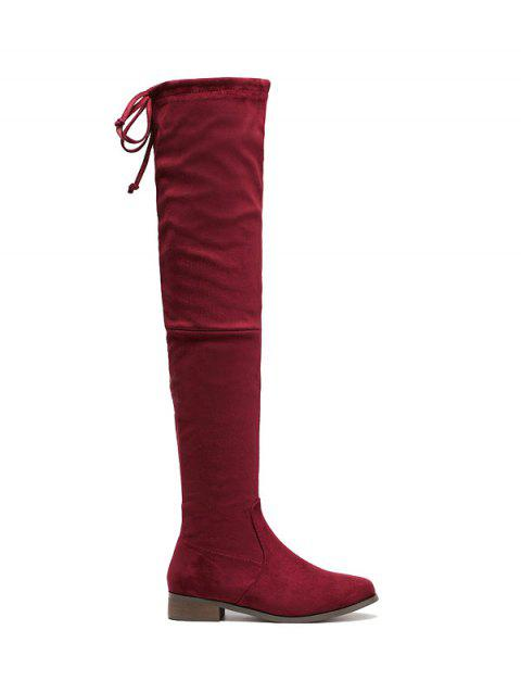 Zip Flat Heel Thing High Boots - WINE RED 38