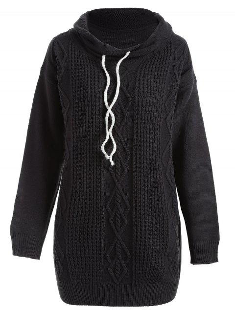 Drop Shoulder Cable Knit Turtleneck Sweater - BLACK S
