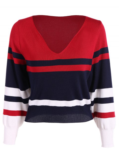Striped Pattern Sweater - COLORMIX ONE SIZE