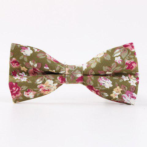 Retro Floral Printed Bow Tie - ARMY GREEN
