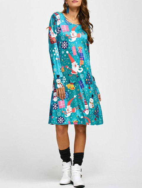 Jewel Neck Father Christmas Cartoon Print Long Sleeve Dress - BLUE ONE SIZE