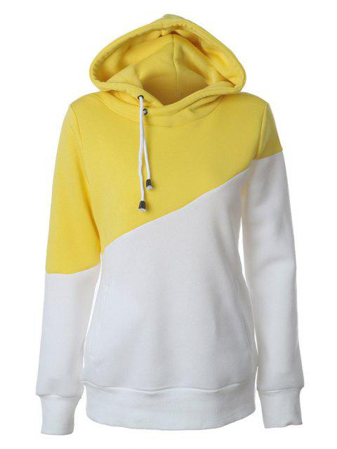Color Block Casual Hoodie - YELLOW XL