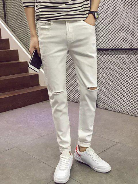 Slim Fit Zipper Fly Jeans with Knee Rips - WHITE 30