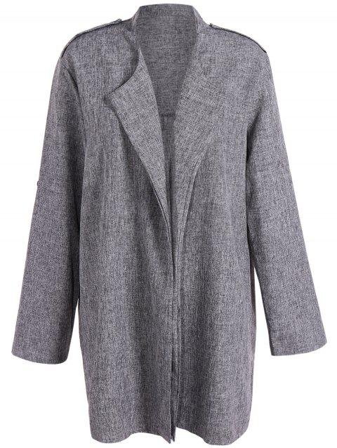 Open Front Plus Size Lapel Coat - SMOKY GRAY 2XL