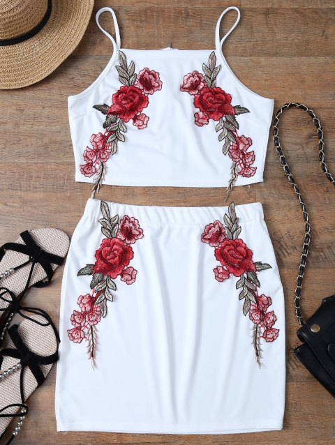 Floral Embroidered Back Zippered Top with Skirt - WHITE S