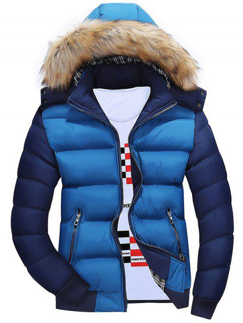 Zipper Color Block Quilted Jacket with Fur Trim Hood - BLUE M