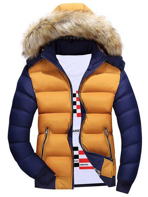 Zipper Color Block Quilted Jacket with Fur Trim Hood - YELLOW XL