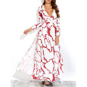 Printed Long Sleeve Slit Casual Maxi Dress
