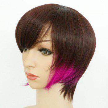 Graceful Women's Short Mixed Color Side Bang Synthetic Hair Wig - COLORMIX