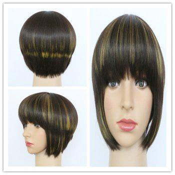 Refreshing Synthetic Short Straight Full Bang Women's Mixed Color Hair Wig