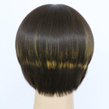 Prevailing Synthetic Short Straight Full Bang Women's Mixed Color Hair Wig - COLORMIX