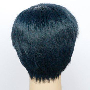 Fashion Short Boy Cut Capless Black Blue Straight Synthetic Wig For Women - COLORMIX