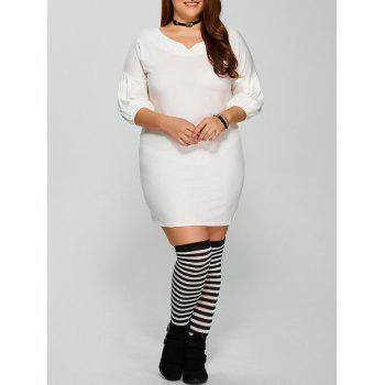 Short Tight Lantern Sleeve Plus Size Mini Dress