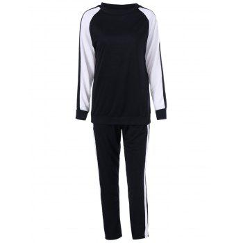 Two Tone Tee With Pants Sport Suit - WHITE AND BLACK XL