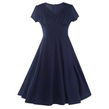 Chic Short Sleeve V-Neck Ruched Solid Color Women's Dress